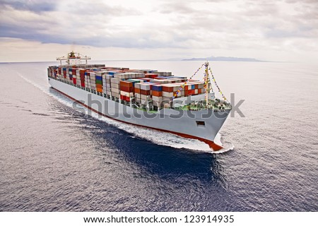 Aerial view of a Cargo vessel.