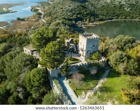 Aerial view of a castle located in Butrint national park, part of unesco heritage .in saranda vlore albania