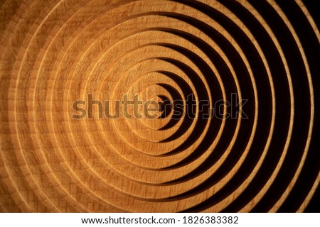 Aerial view of a circular geometric vertical beech wood plate. Concentric round beech wood plate light and shadow. Photo stock ©