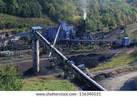 Aerial view of a coal mine in West Virginia