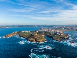 Aerial view of A Coruna coastal city and Hercules tower, Galicia, Spain
