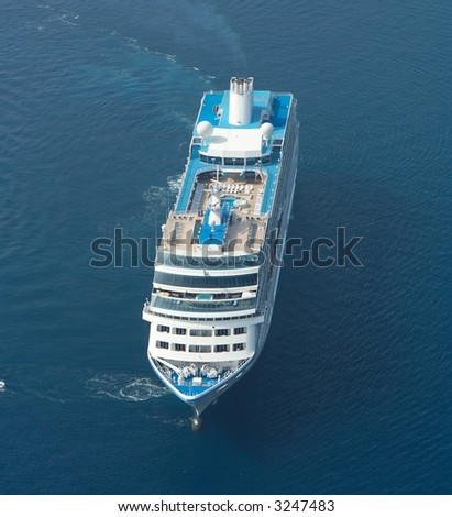 Aerial view of a cruise ship - stock photo