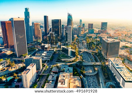 Aerial view of a Downtown Los Angeles at sunset #491691928