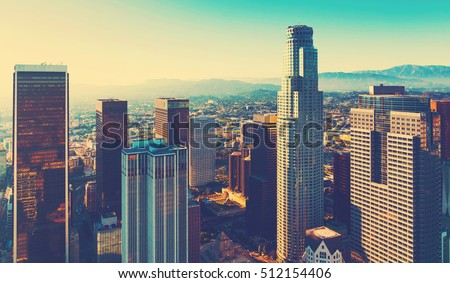 Aerial view of a Downtown Los Angeles at sunset #512154406