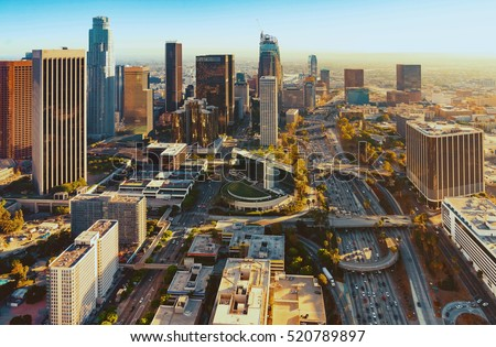 Aerial view of a Downtown Los Angeles at sunset #520789897