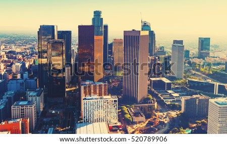 Aerial view of a Downtown Los Angeles at sunset #520789906