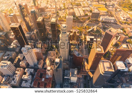 Aerial view of a Downtown Los Angeles at sunset #525832864
