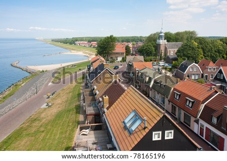 Aerial view of a Dutch fishing village seen from the Lighthouse