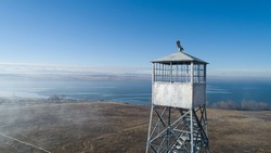 aerial view of a fire watch tower