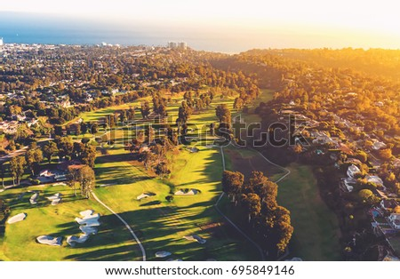Aerial view of a golf course country club in Los Angeles, CA #695849146