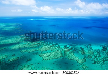 Aerial view of a great barrier reef #300303536