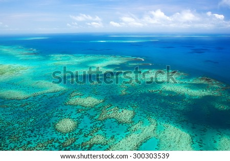 Aerial view of a great barrier reef #300303539