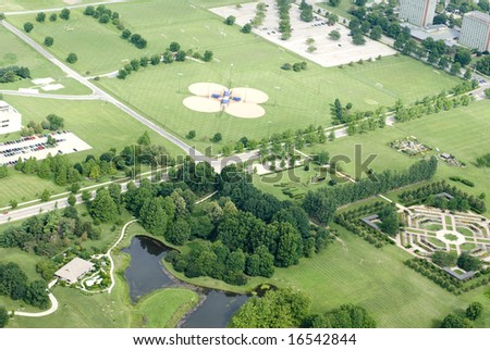 Aerial view of a green landscape.