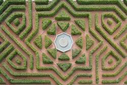 Aerial view of a hedge maze