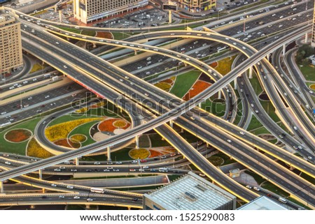 Aerial view of a highway road interchange in Dubai, United Arab Emirates stock photo
