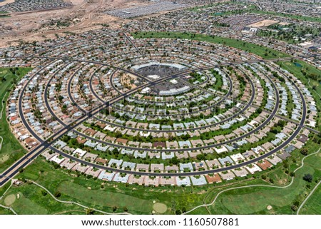 Aerial view of a homes built in a circular pattern in Sun City, Arizona