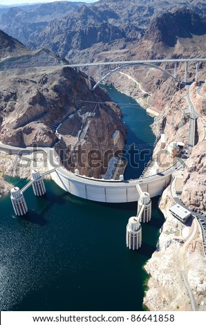 Aerial View of a hydroelectric plant and dam/Hoover Dam/Aerial Views of Hoover Dam