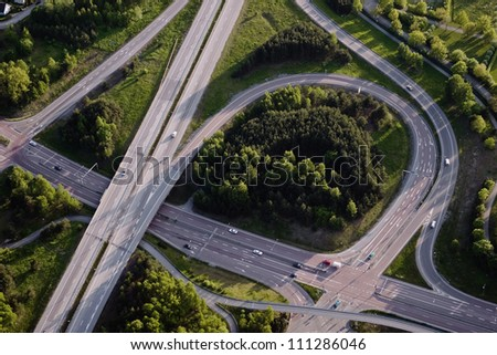 Aerial view of a junction
