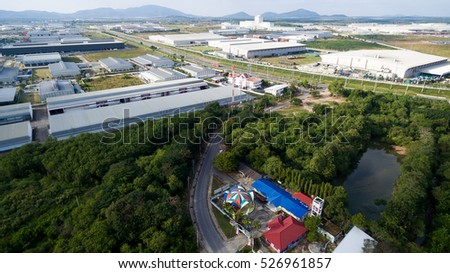 Aerial view of a large industrial estate in Eastern Seaboard Industrial Estate rayong thailand