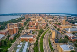 Aerial View of a large University in Madison, Wisconsin