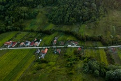 Aerial view of a linear settlement, in Eastern Europe, just before nightfall