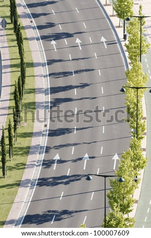 aerial view of a  main street, no cars, in the city  of Zaragoza, Spain