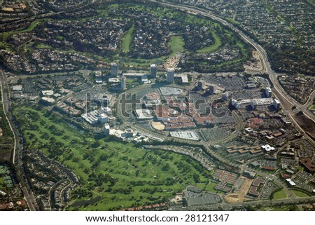 aerial view of a mall and golf