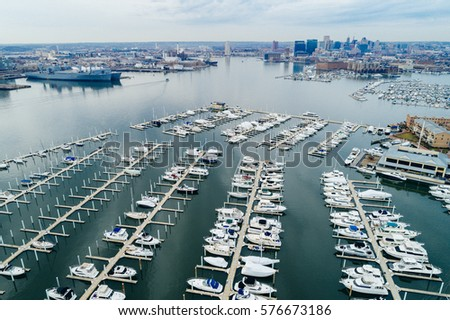 Aerial view of a marina on the Canton waterfront, in Baltimore, Maryland. #576673186
