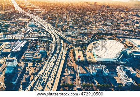Aerial view of a massive highway intersection in Los Angeles #472910500