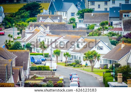 Aerial view of a modern neighborhood.Residential area View of the street neighborhood from top. Residential street background.City street neighborhood residences.City Residential street