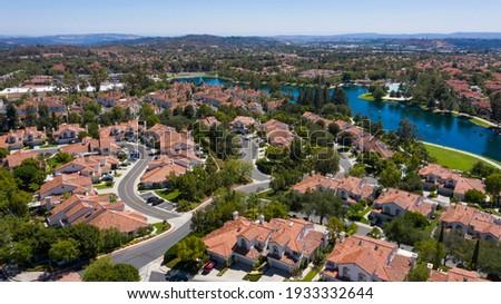 Aerial view of a neighborhood in Rancho Santa Margarita, California, USA. Сток-фото ©