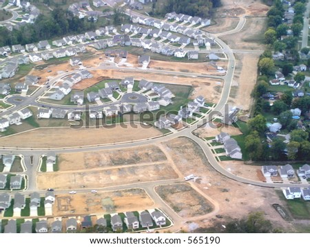 Aerial view of a new housing development