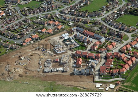 aerial view of a new housing development being built in the UK