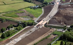 aerial view of a new link road under construction in Lancashire, UK