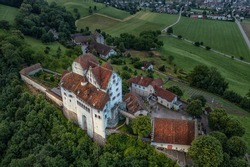 aerial view of a old castle in sunrise