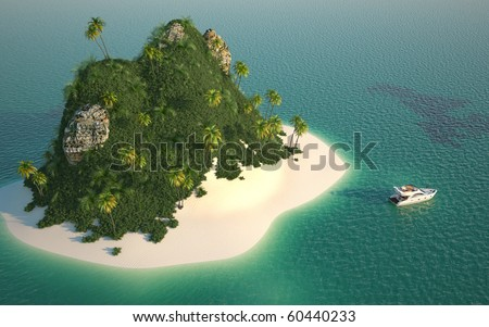aerial view of a paradise desert island in a turquoise water with a yacht as a concept for quiet vacations