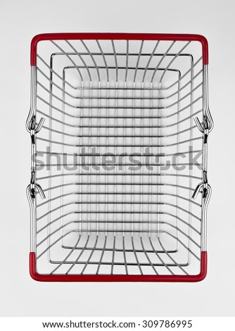 Aerial view of a retail or supermarket shopping basket.
