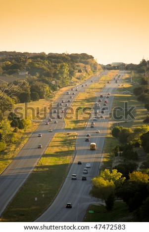 aerial view of a road in austin texas