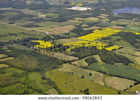 aerial view of a rural region and farmland in Southern Ontario, outskirts of Kitchener-Waterloo, Canada