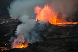 Aerial view of a small aircraft flying over the 2014 Bárðarbunga eruption at the Holuhraun volcanic fissures, Central Highlands, Iceland.