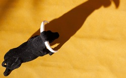 Aerial view of a souvenir bull in a simulated alvero of a bullring with the shadow of the bull projected