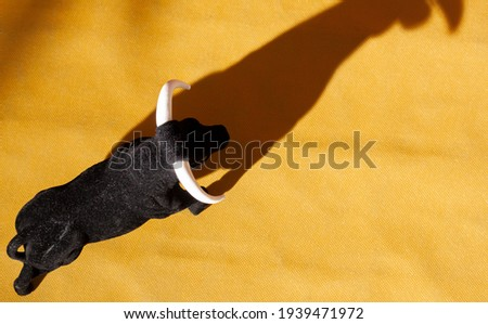 Aerial view of a souvenir bull in a simulated alvero of a bullring with the shadow of the bull projected Stock fotó ©