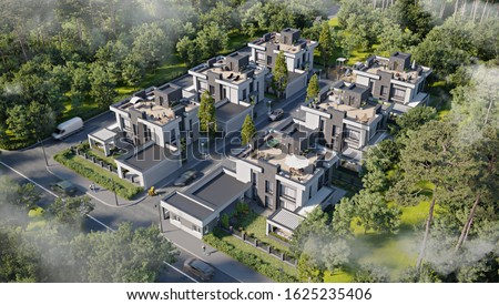 Aerial view of a townhouse village / gated community with roof terrace in the foggy morning, 3d rendering Сток-фото ©