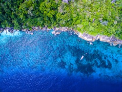 Aerial view of a tropical island with blue clear water, coral reef and lush greenery on a granite stones. . Similan Islands, Thailand. Speedboats on a coral reef from above.