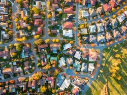 Aerial view of a typical suburb in Australia