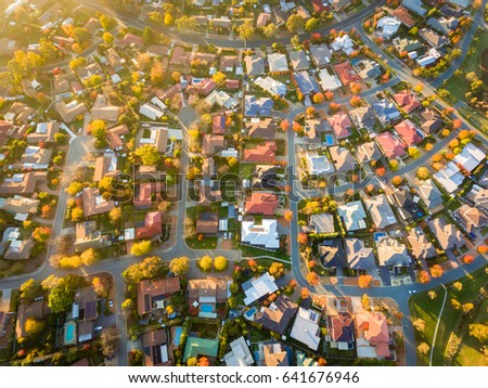 Aerial view of a typical suburb in Australia #641676946