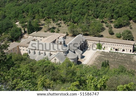 Aerial view of Abbey de Senanque, Provence, France