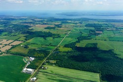 Aerial view of agricultural land at day in Ontario, Canada. aerial picture from ontario canada 2016