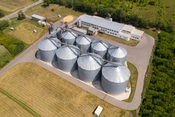 Aerial view of agricultural silos, grain elevator for storage and drying of cereals