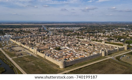 Aerial view of Aigues-Mortes walled city in France